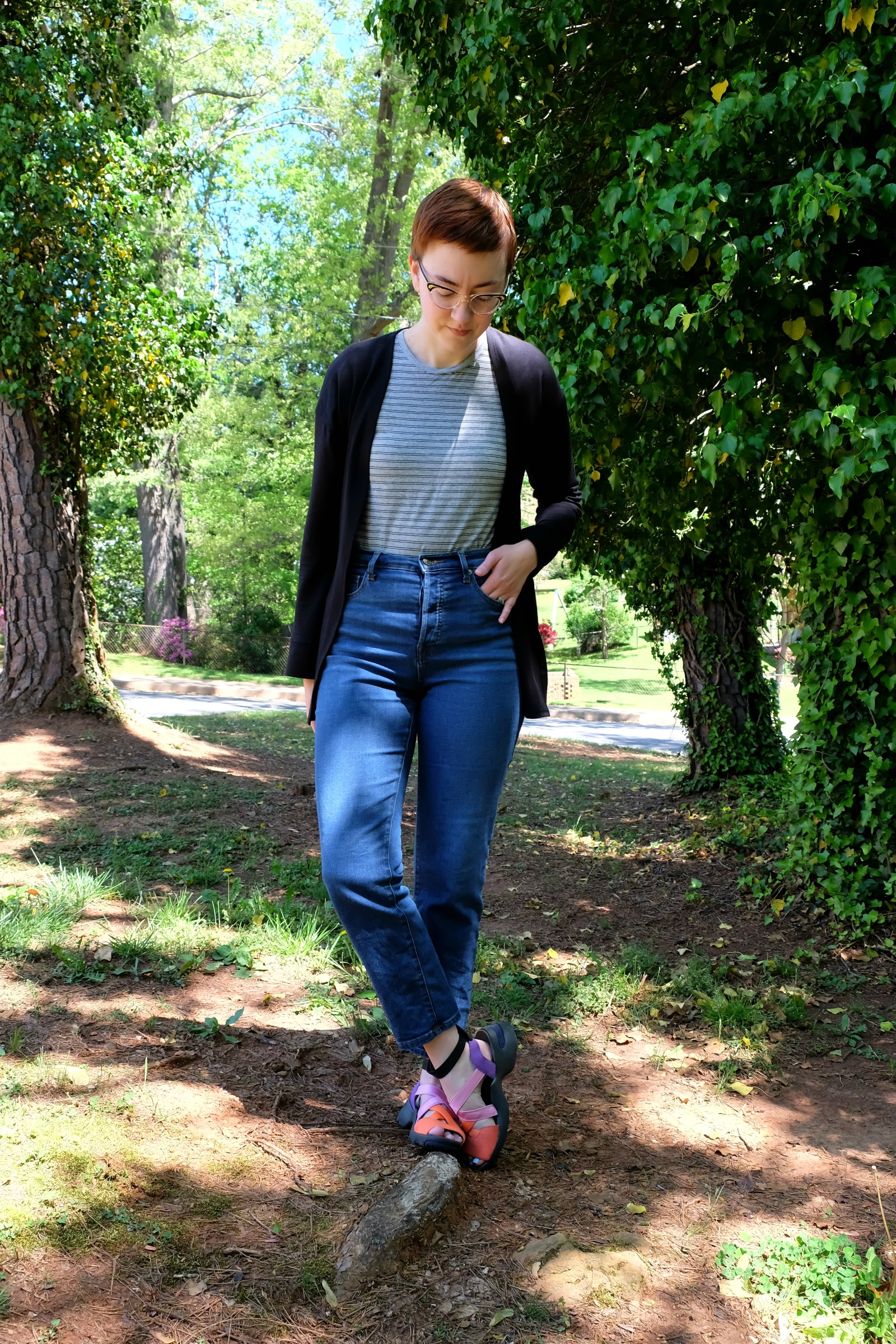 Ethical Details: Cardigan - c/o  LA Relaxed ; Tee and Jeans -  Everlane ; Sandals - secondhand Camper; Earrings -  Bario Neal