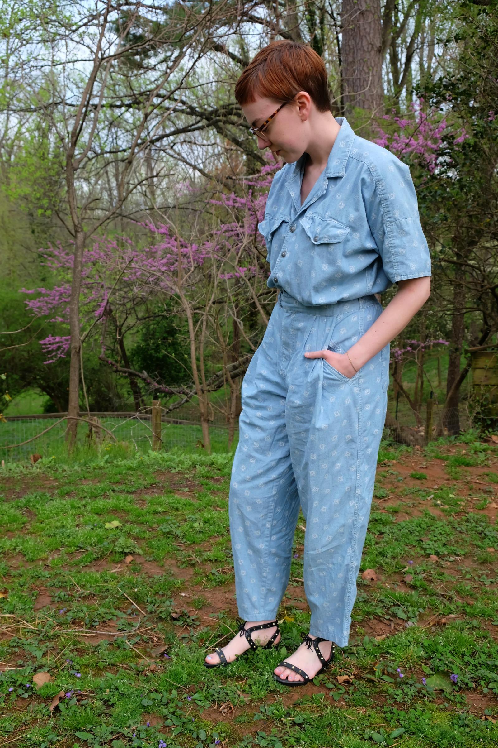 Ethical Details: Jumpsuit - vintage via  Etsy ; Sandals - Jason Wu x Melissa ( similar)