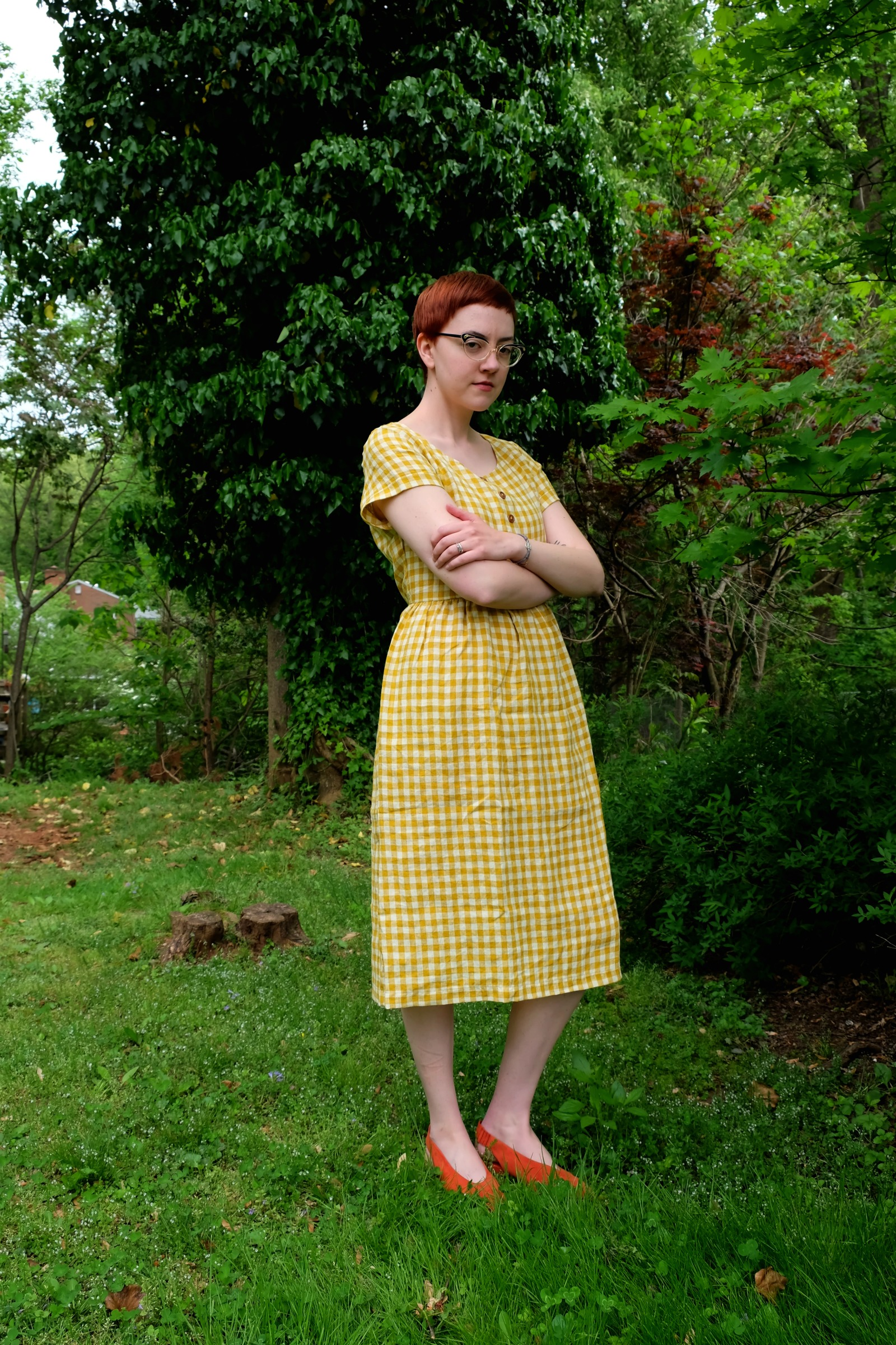 Ethical Details: Dress -  Pyne & Smith Clothiers ; Shoes -  Everlane ; Glasses - Retrospecced