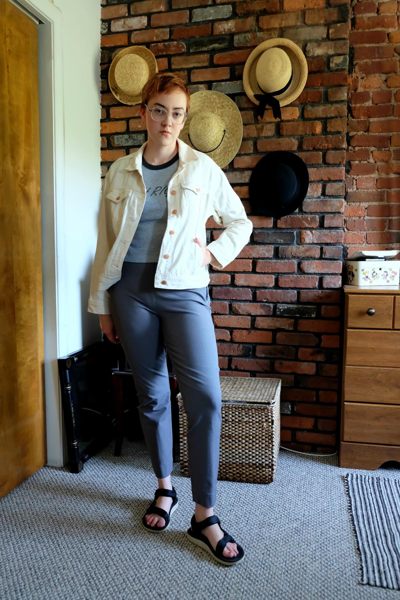 Wearing: thrifted Crop Top;  Everlane Denim Jacket ;  Everlane Side-Zip Work Pants ; secondhand TEVAs