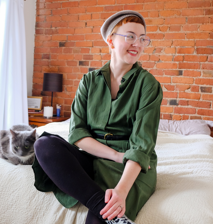 (Post contains affiliate links) Details: Dress - c/o  Tradlands Chelsea Dress  (on sale for $59.99); Beret -  Everlane ; Leggings - Uniqlo; Socks and Belt - secondhand