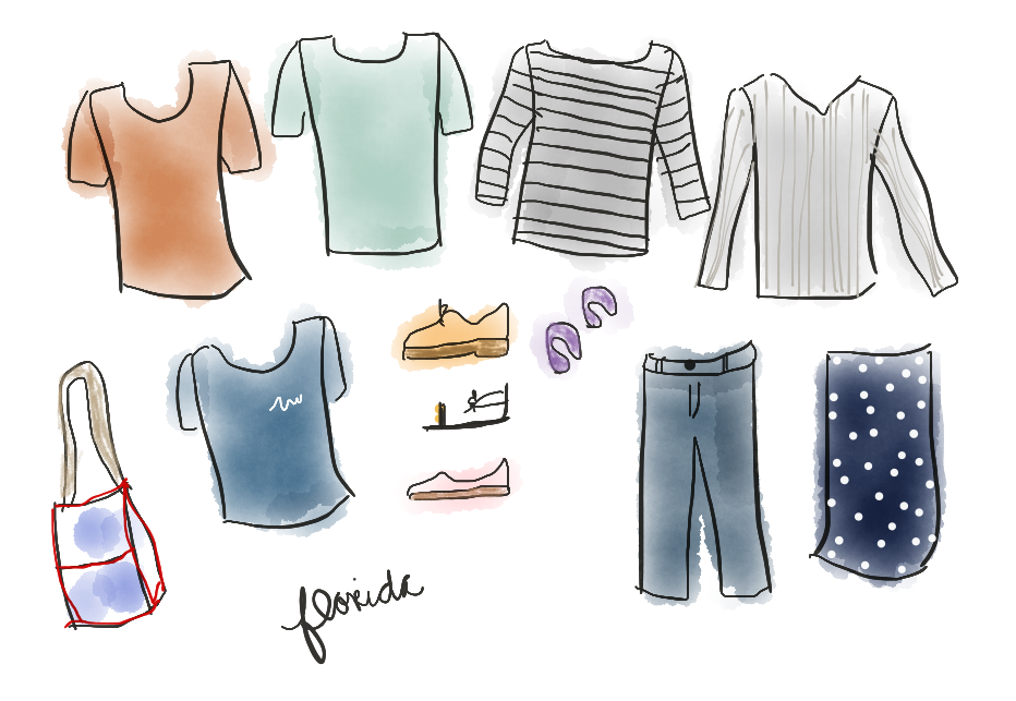 illustrated outfit ethical packing list for florida stylewise-blog.com