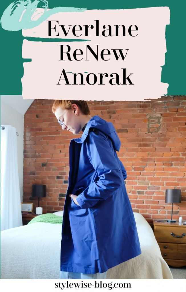 everlane renew anorak jacket royal blue review  - ethical rain jacket