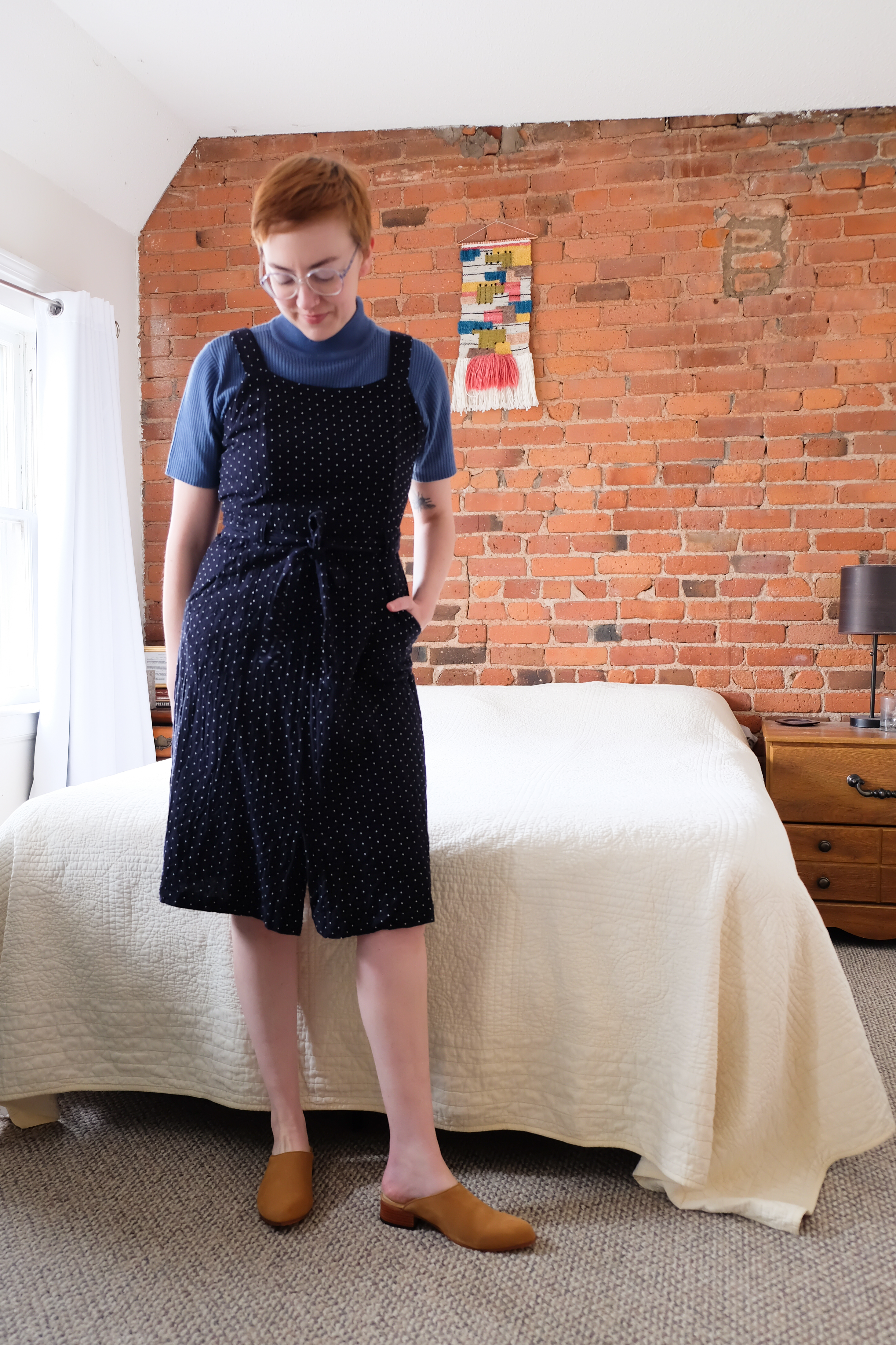 pinafore with mockneck