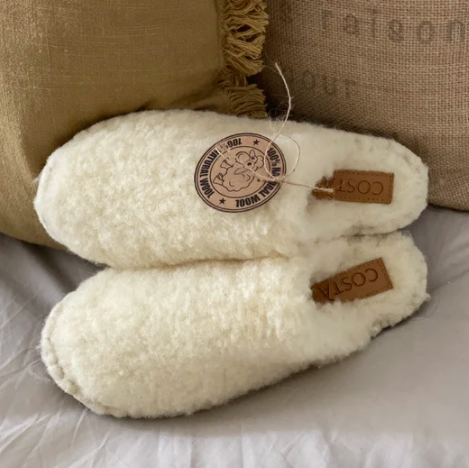 fuzzy wool sustainable slippers