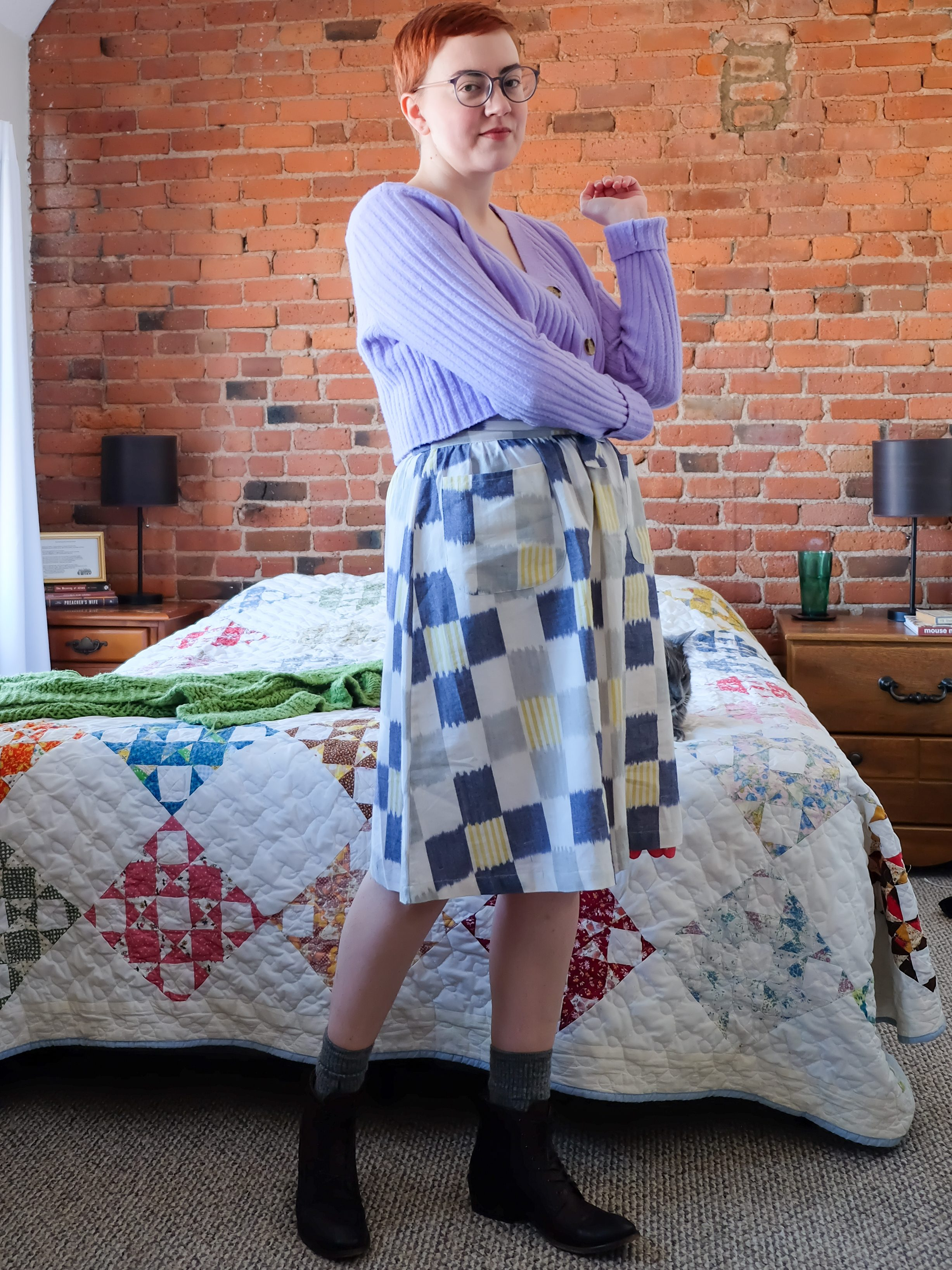 Sustainable Patterned Clothing - Passion Lilie plaid skirt - patchwork quilt skirt