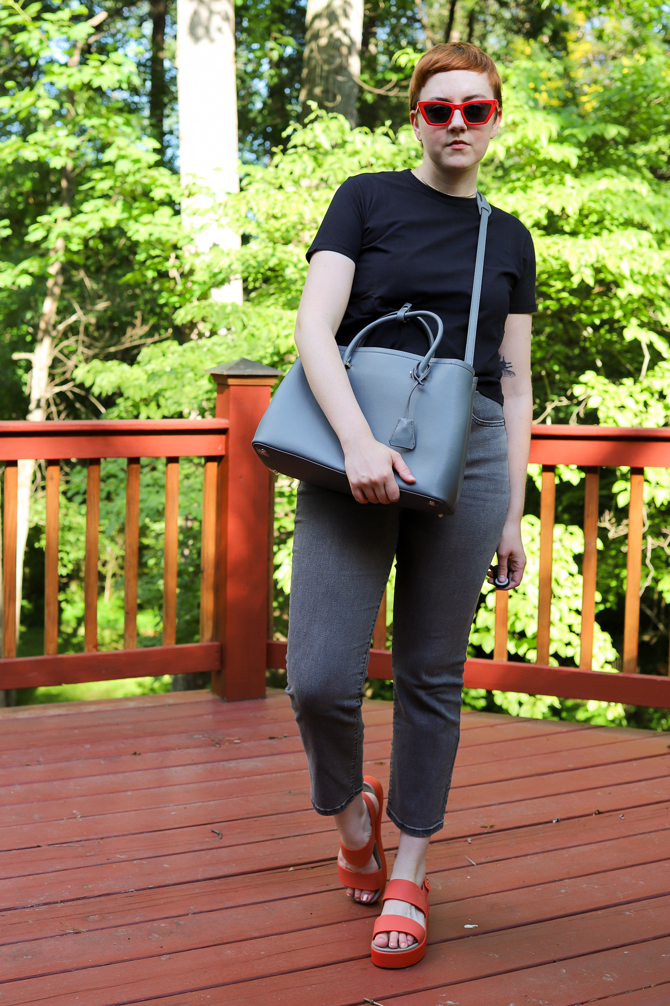 Italic Review Clarice Tote, Cropped Tee, and Sunglassess